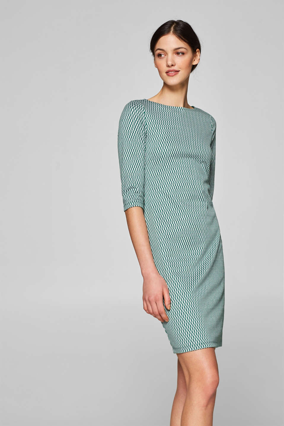 Esprit - Sheath dress in jacquard jersey