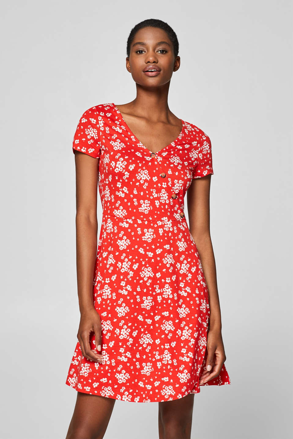 Esprit - Wrap-over effect jersey dress with a print