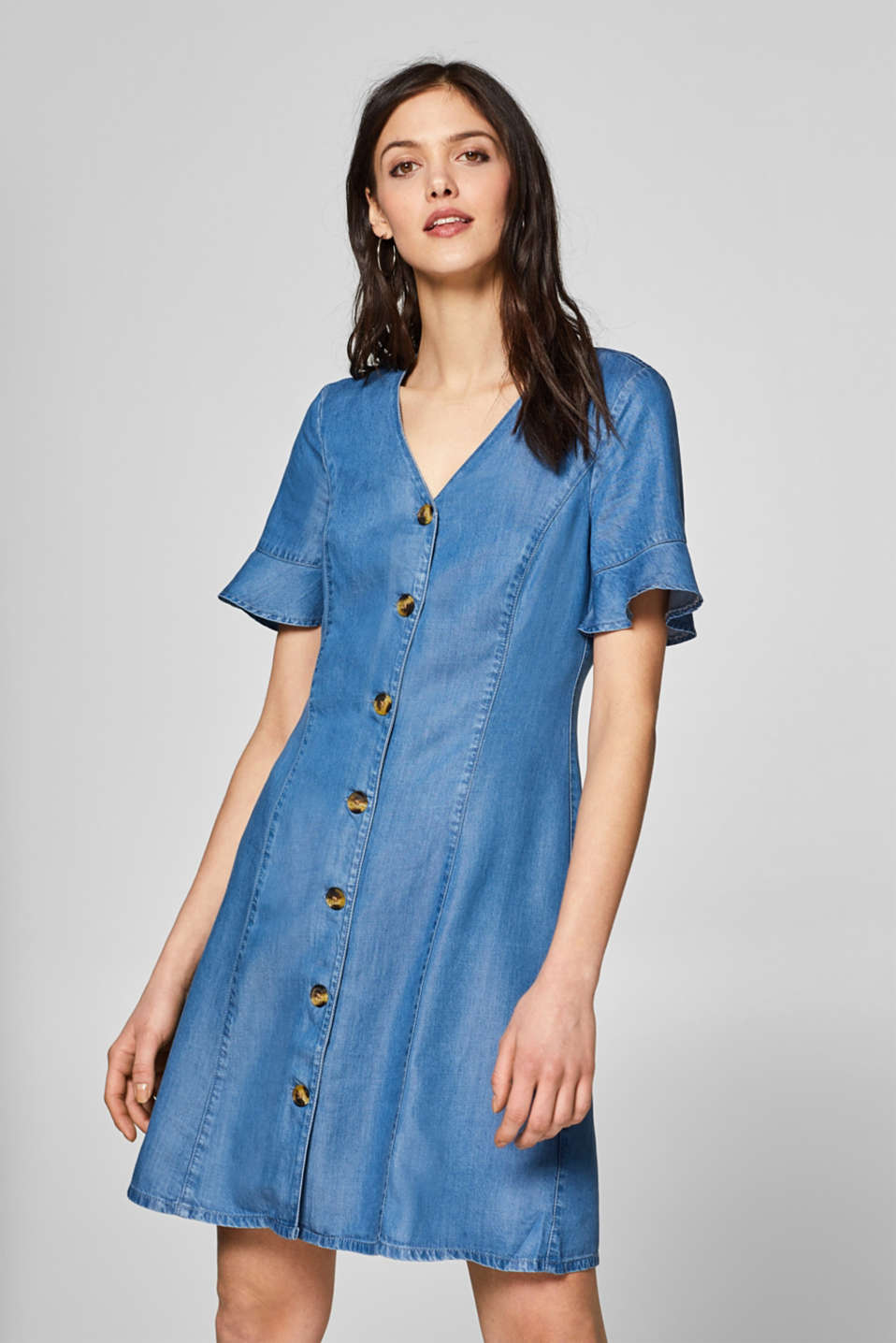 Denim dress with flounce sleeves, 100% lyocell, BLUE MEDIUM WASH, detail image number 0