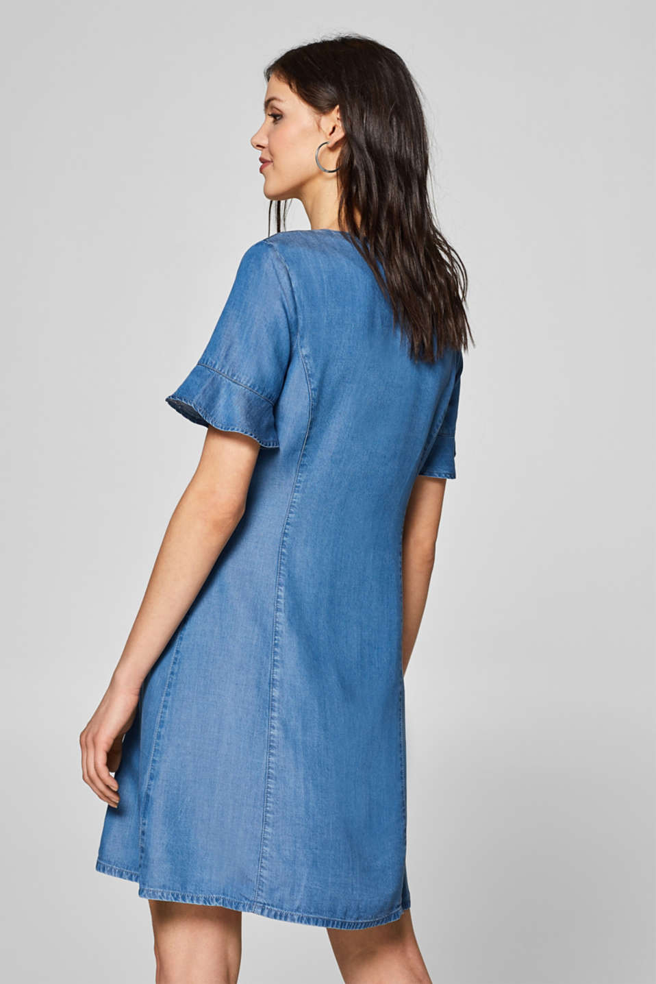 Denim dress with flounce sleeves, 100% lyocell, BLUE MEDIUM WASH, detail image number 2