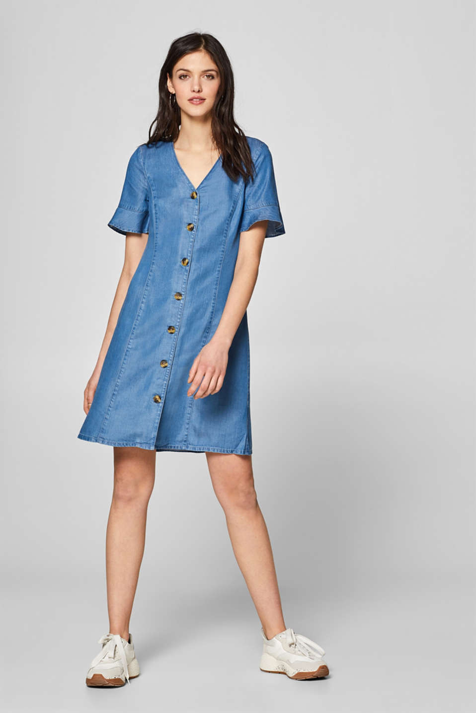Denim dress with flounce sleeves, 100% lyocell, BLUE MEDIUM WASH, detail image number 1