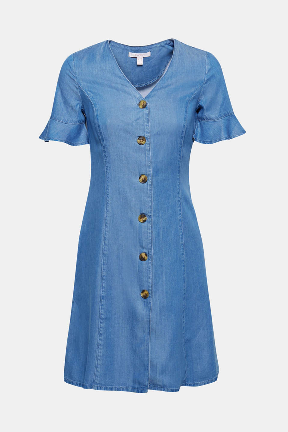 Denim dress with flounce sleeves, 100% lyocell, BLUE MEDIUM WASH, detail image number 5