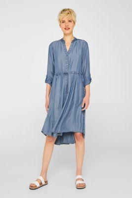 Striped denim-effect lyocell dress, BLUE LIGHT WASH, detail