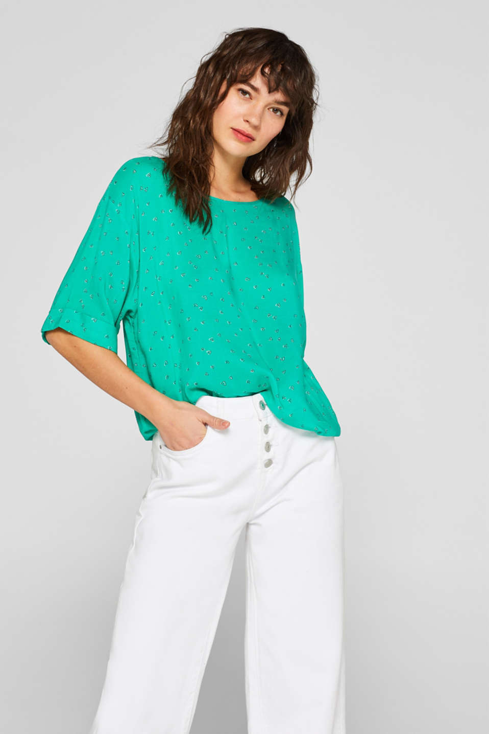 Esprit - Printed blouse with an elasticated hem