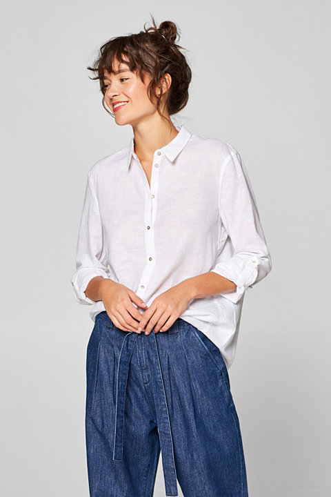 Linen blend: Shirt blouse with turn-up sleeves