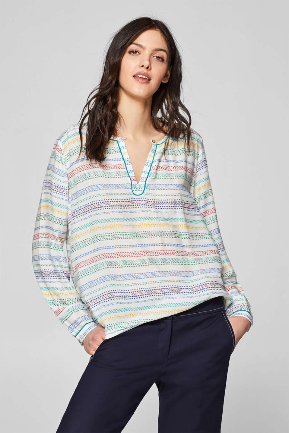 Esprit - Printed blouse with a decorated neckline