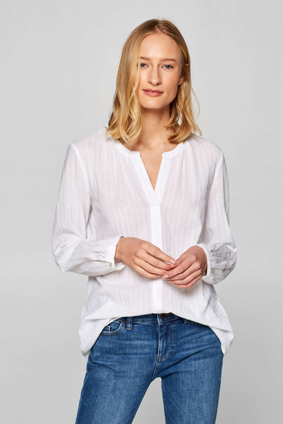 Esprit - Henley blouse with textured stripes, 100% cotton