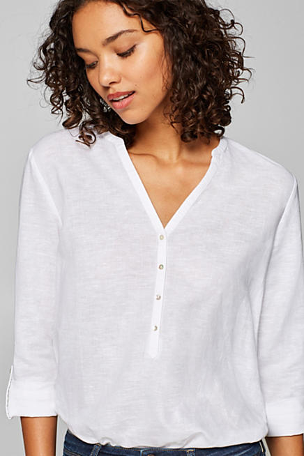 In misto lino  blusa a tunica con maniche da arrotolare 92aabd47474