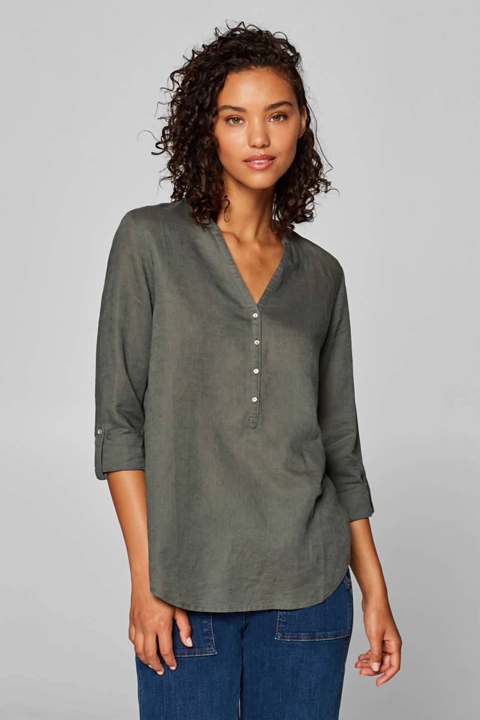 Esprit -  Blended linen tunic blouse with turn-up sleeves