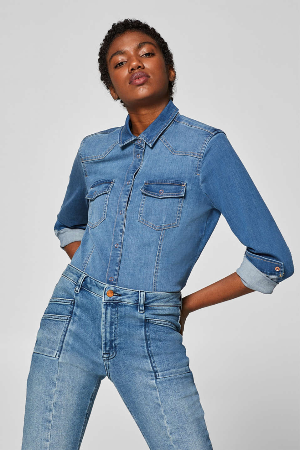 Esprit - Stretch denim blouse with ring press studs