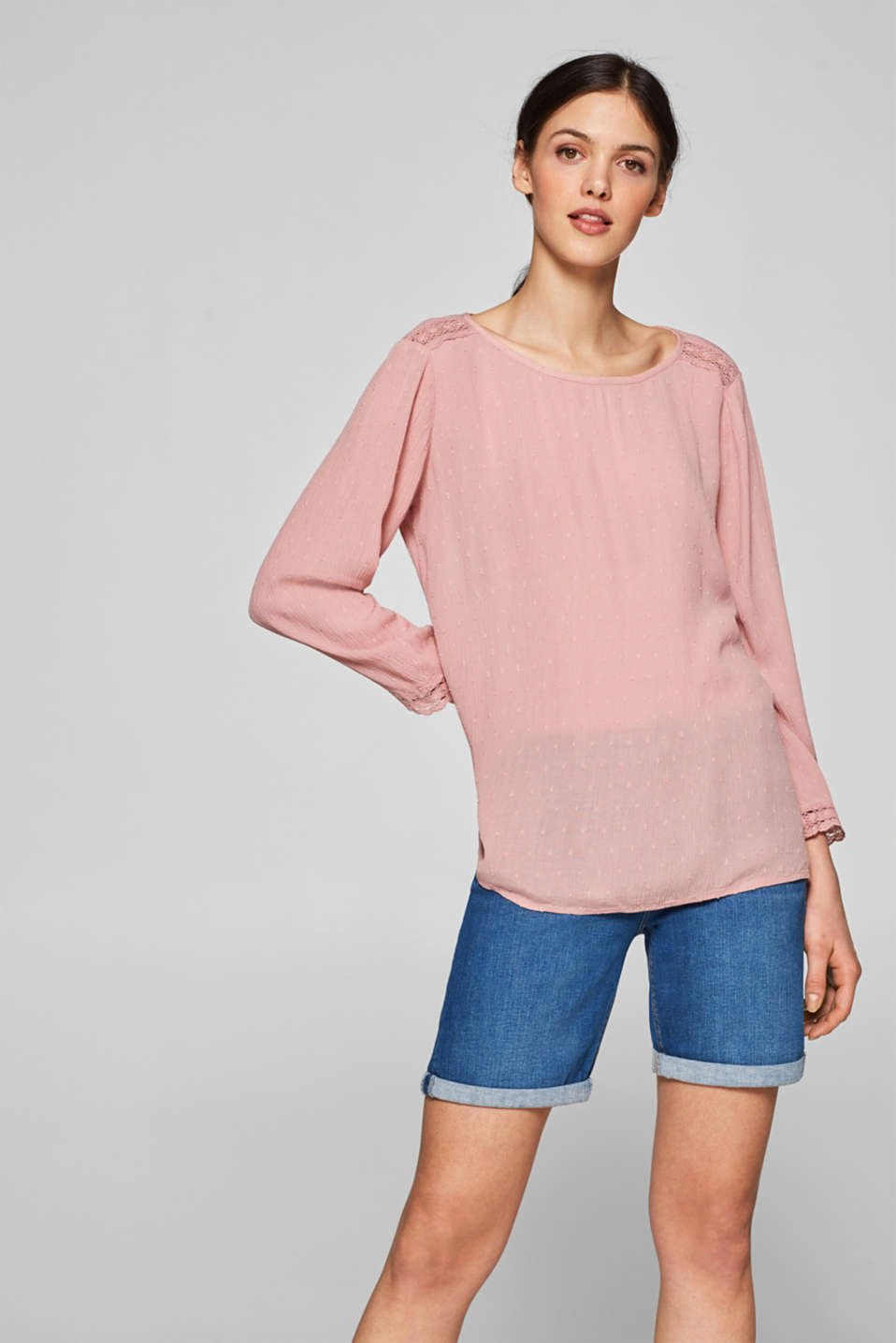 Esprit - Crushed lace-trimmed blouse