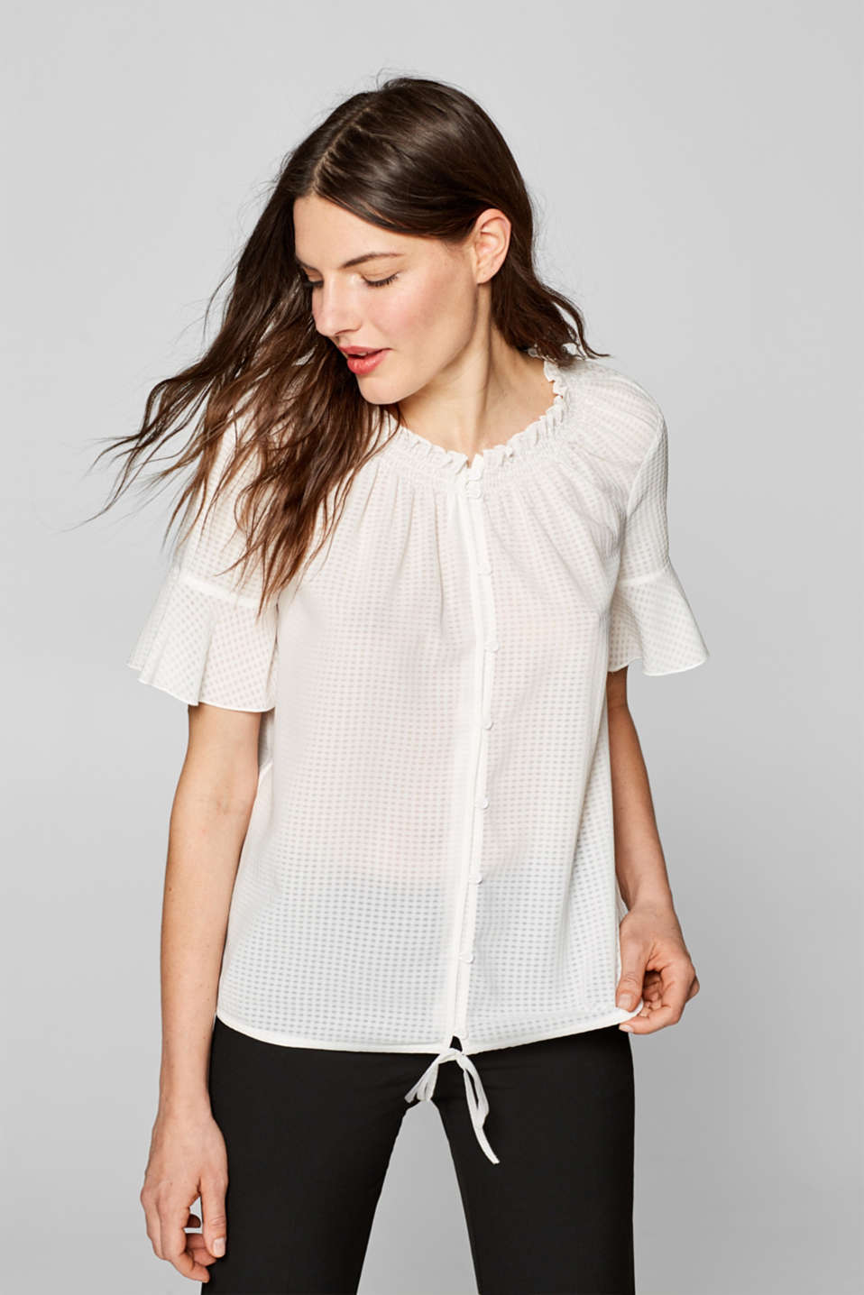 Esprit - Blouse with semi-sheer texture