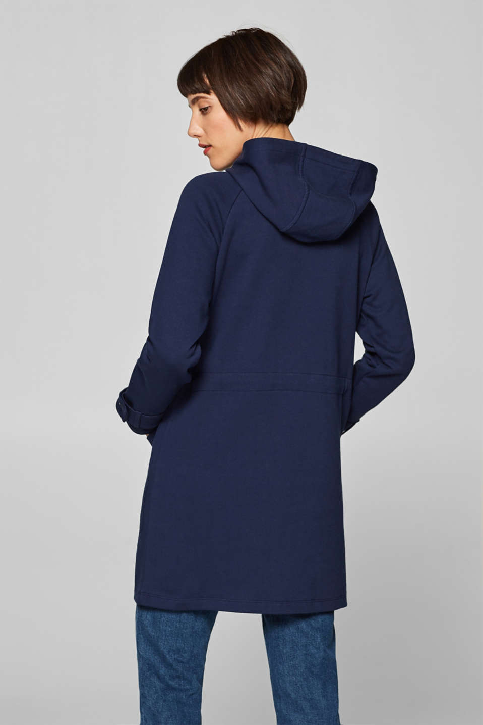 Sweatshirt parka with hood, 100% cotton, NAVY, detail image number 2