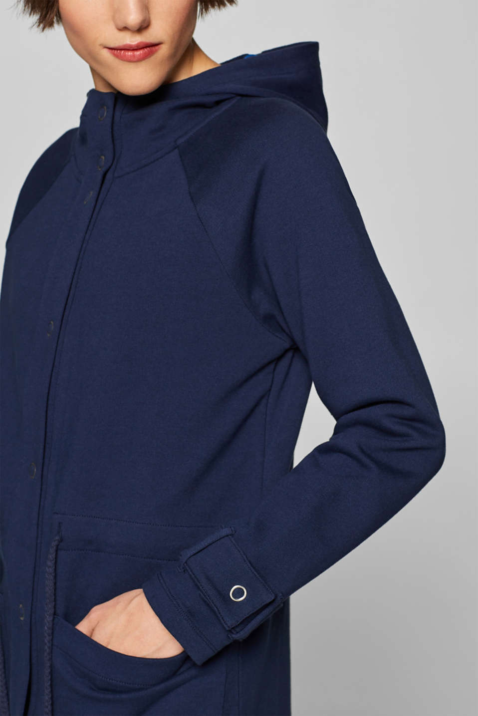 Sweatshirt parka with hood, 100% cotton, NAVY, detail image number 1