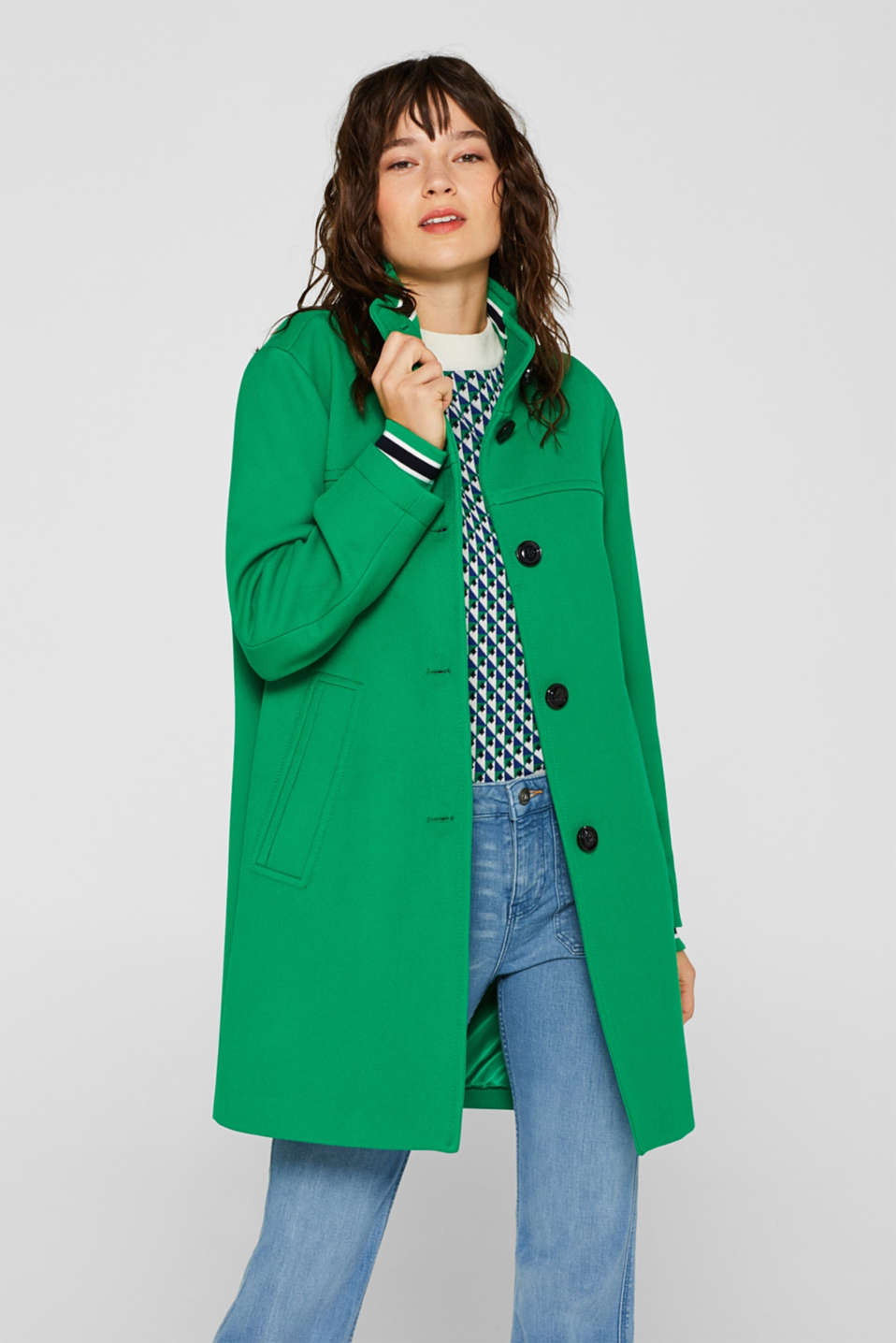 Esprit - Cuff detail coat with a stand-up collar