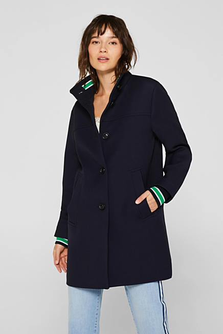 Cuff detail coat with a stand-up collar bb8b60e356eae