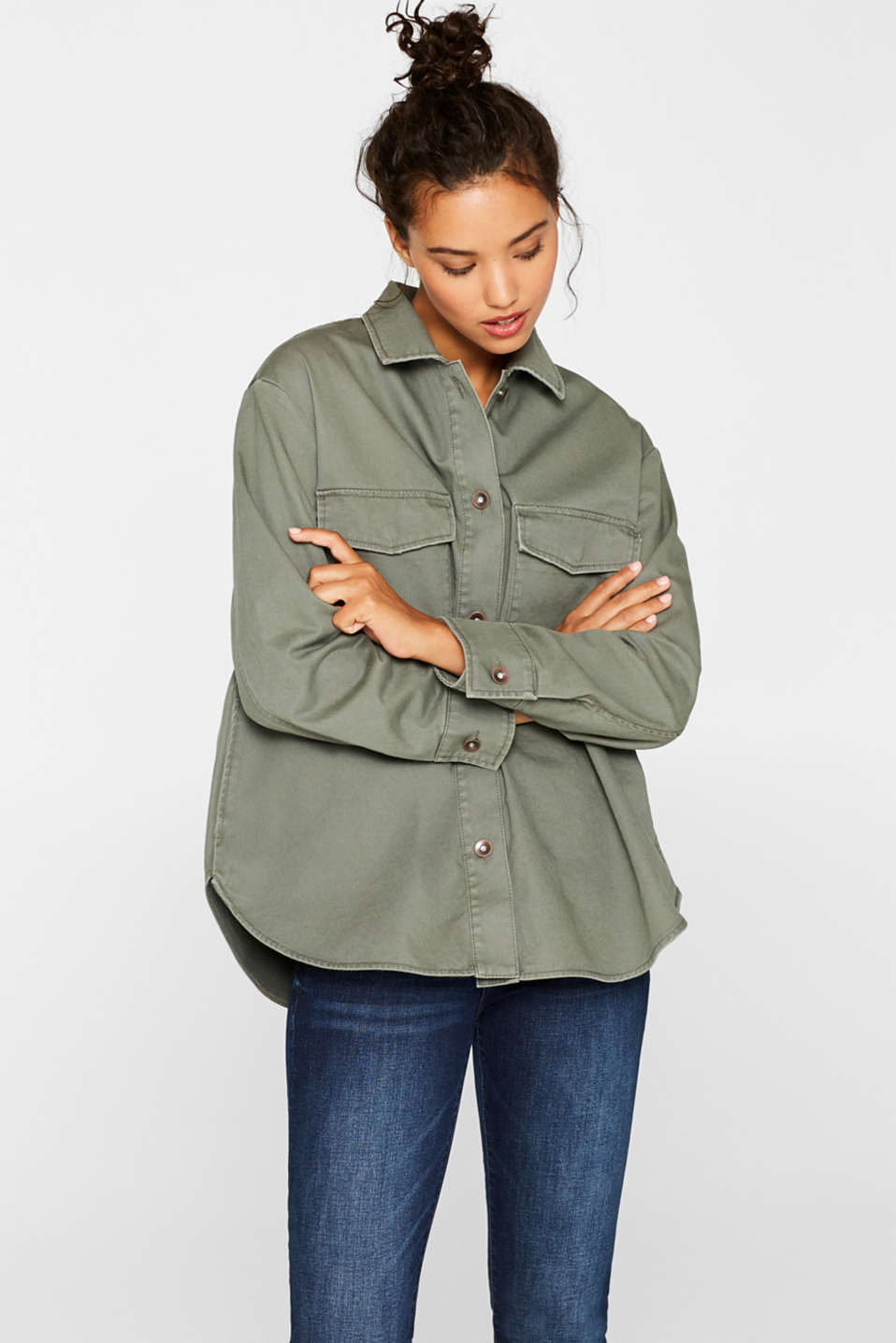 Esprit - Field jacket with a vintage finish, 100% cotton