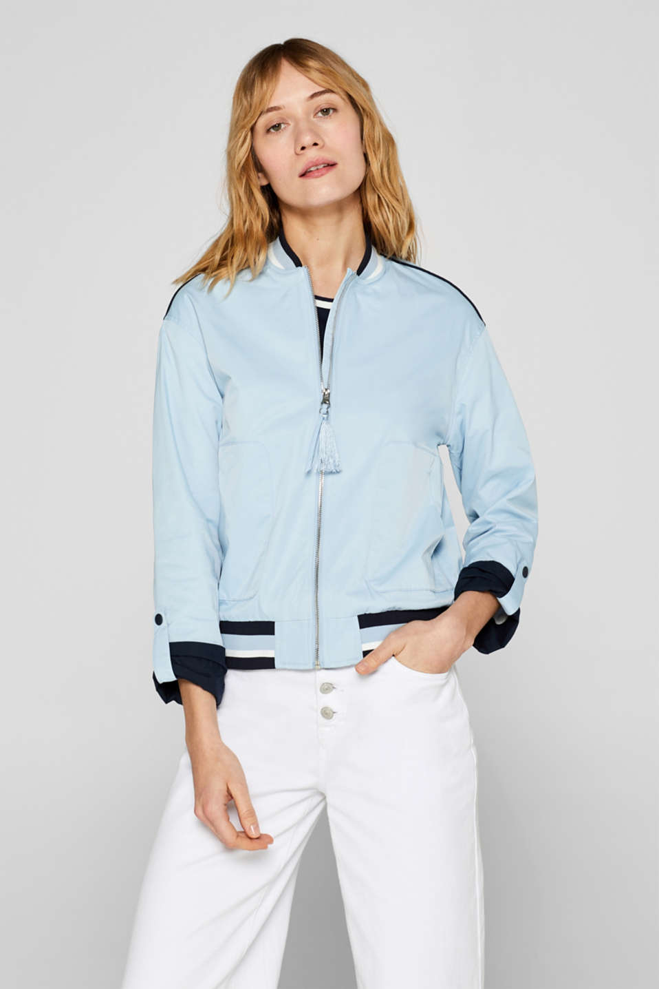 Esprit - Bomber jacket with turn-up sleeves