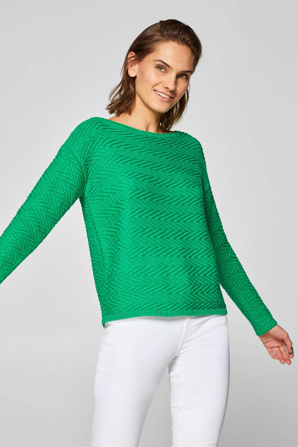 Esprit - Compact jumper with a zigzag texture