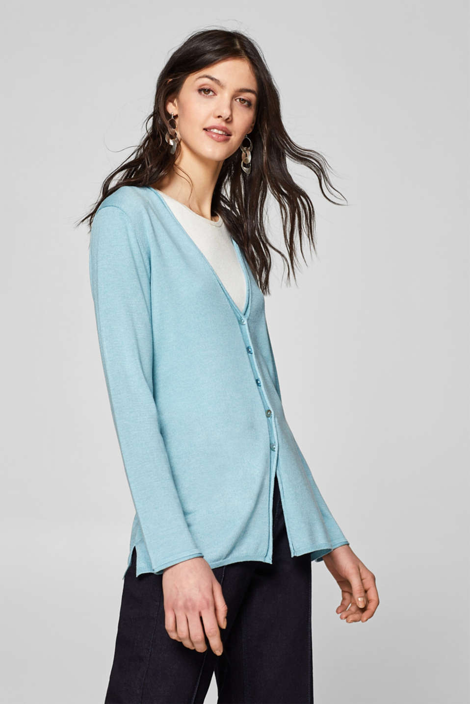 Esprit - Fine-knit cardigan with rolled edges, recycled
