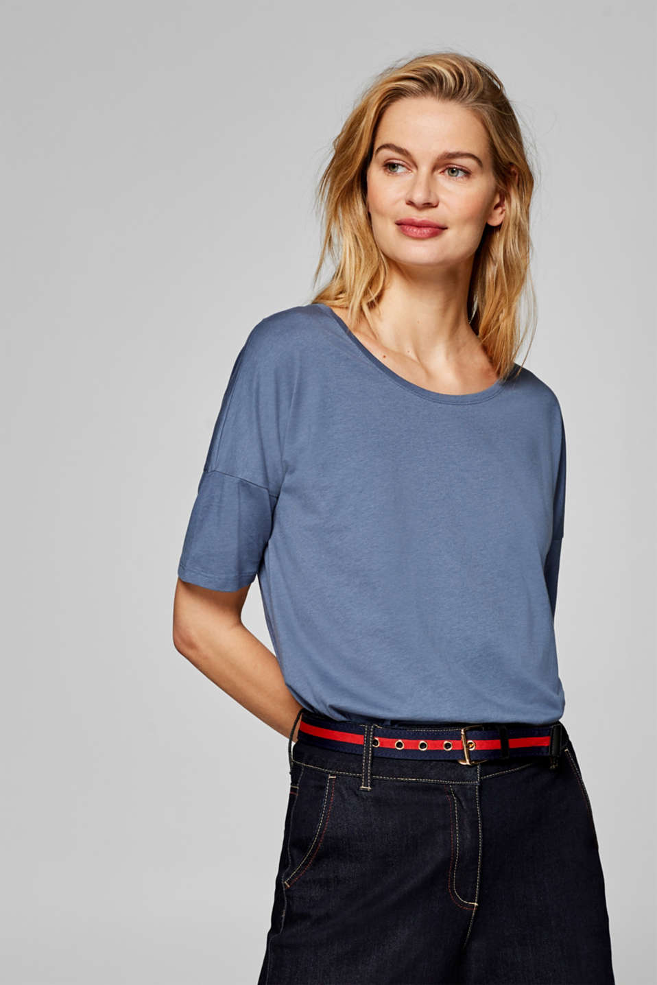 Esprit - Basic T-shirt with dropped shoulders