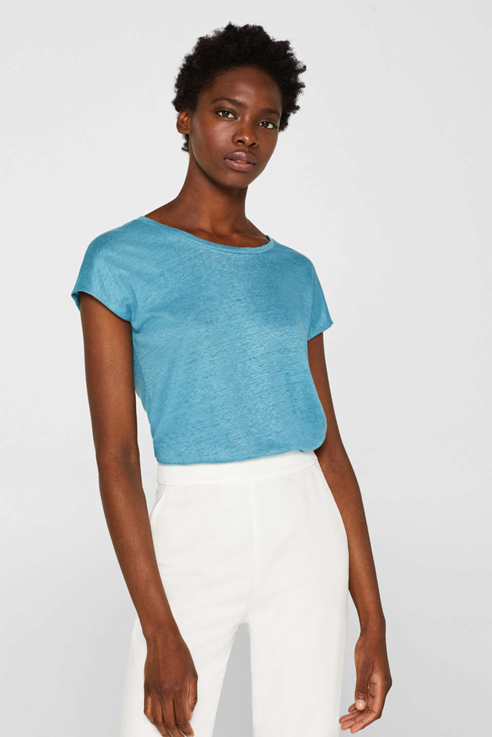 Esprit - 100% linen: Top with a typical texture