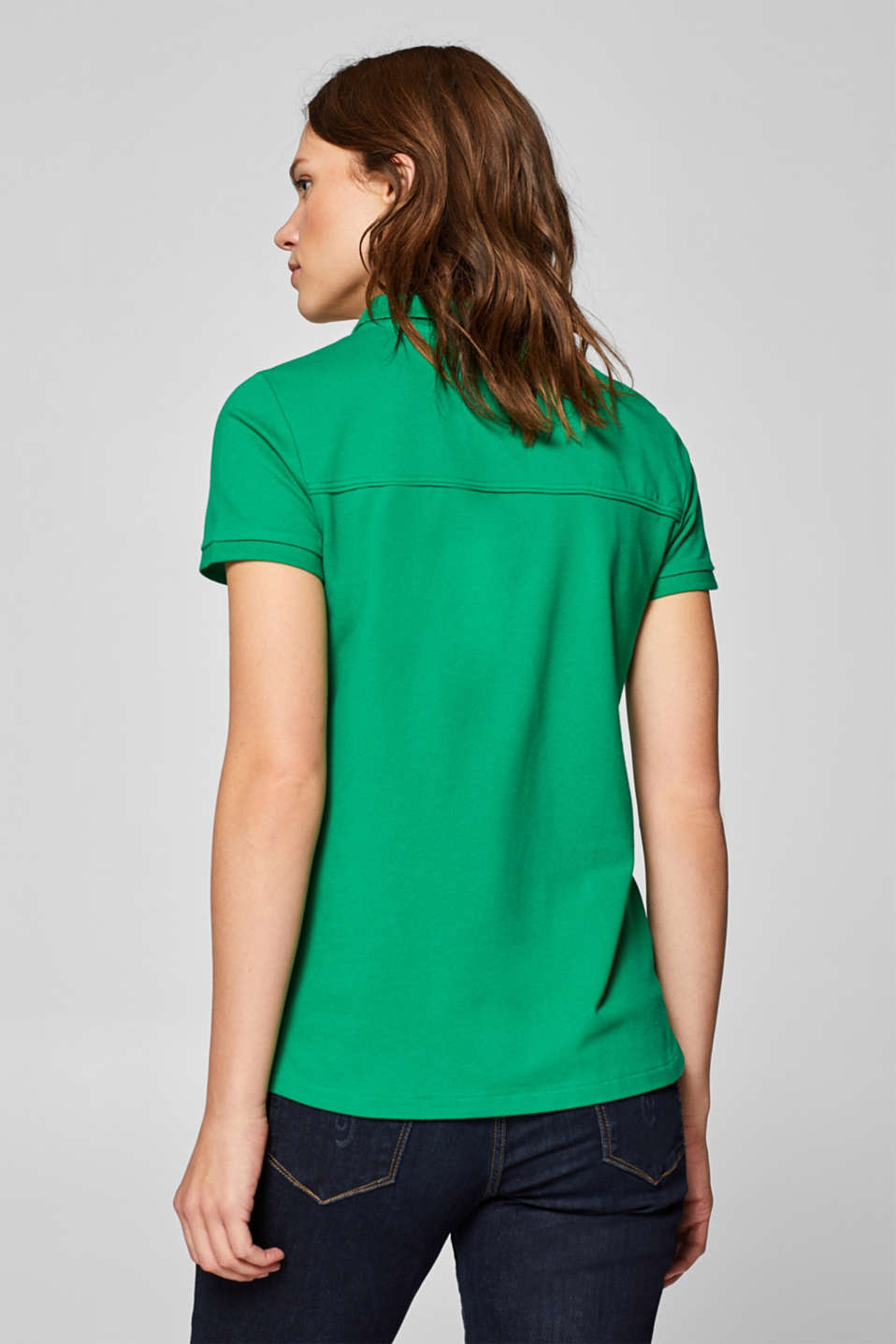 Piqué polo shirt with stretch and organic cotton, GREEN 4, detail image number 3