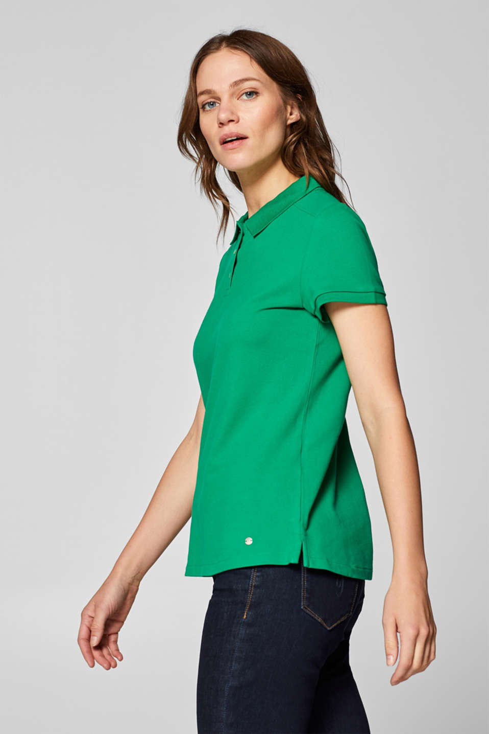 Piqué polo shirt with stretch and organic cotton, GREEN 4, detail image number 5