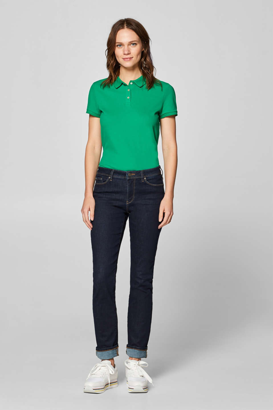 Piqué polo shirt with stretch and organic cotton, GREEN 4, detail image number 1