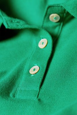Piqué polo shirt with stretch and organic cotton, GREEN 4, detail