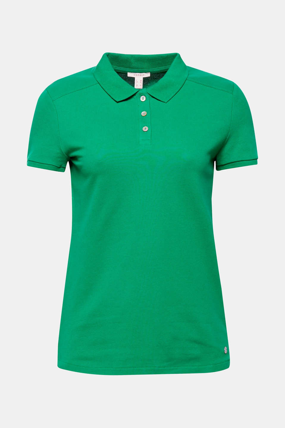Piqué polo shirt with stretch and organic cotton, GREEN 4, detail image number 6