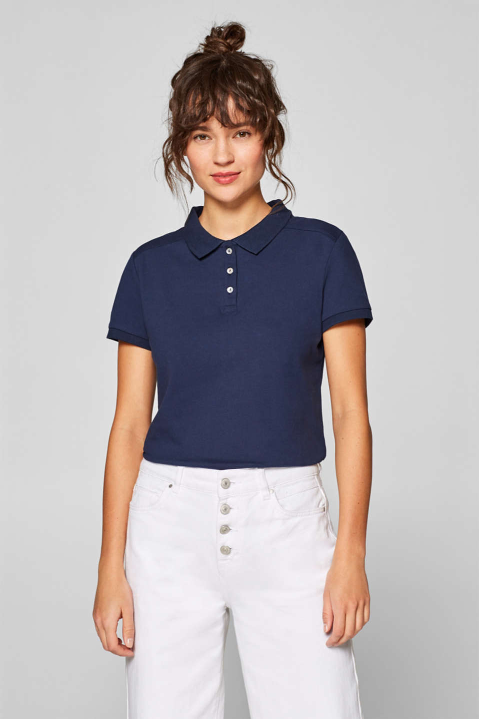 Esprit - Piqué polo met stretch en organic cotton