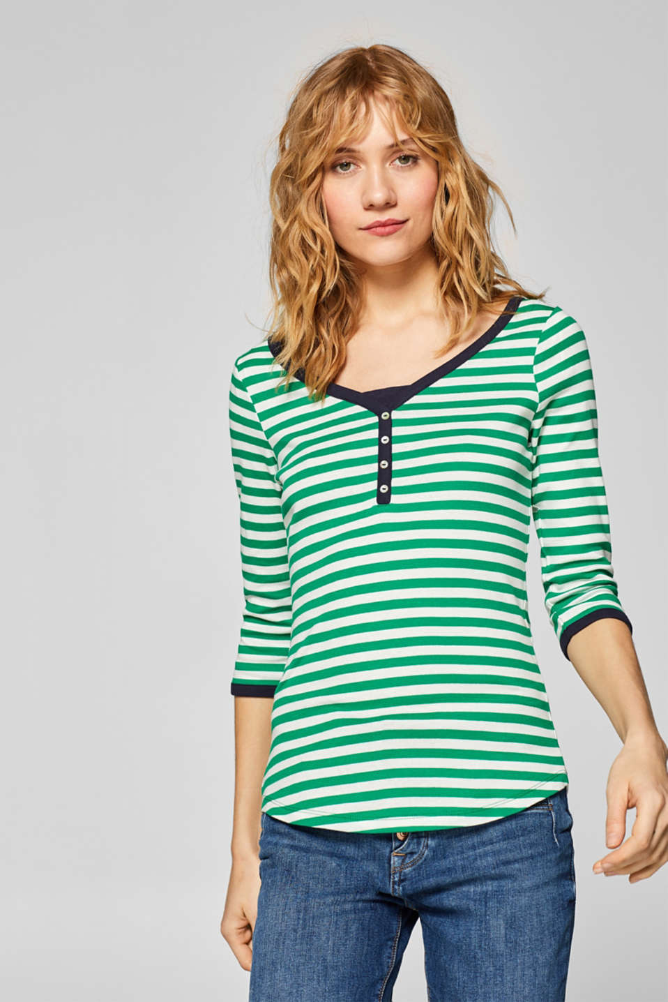 Esprit - Striped T-shirt with a button placket, 100% cotton