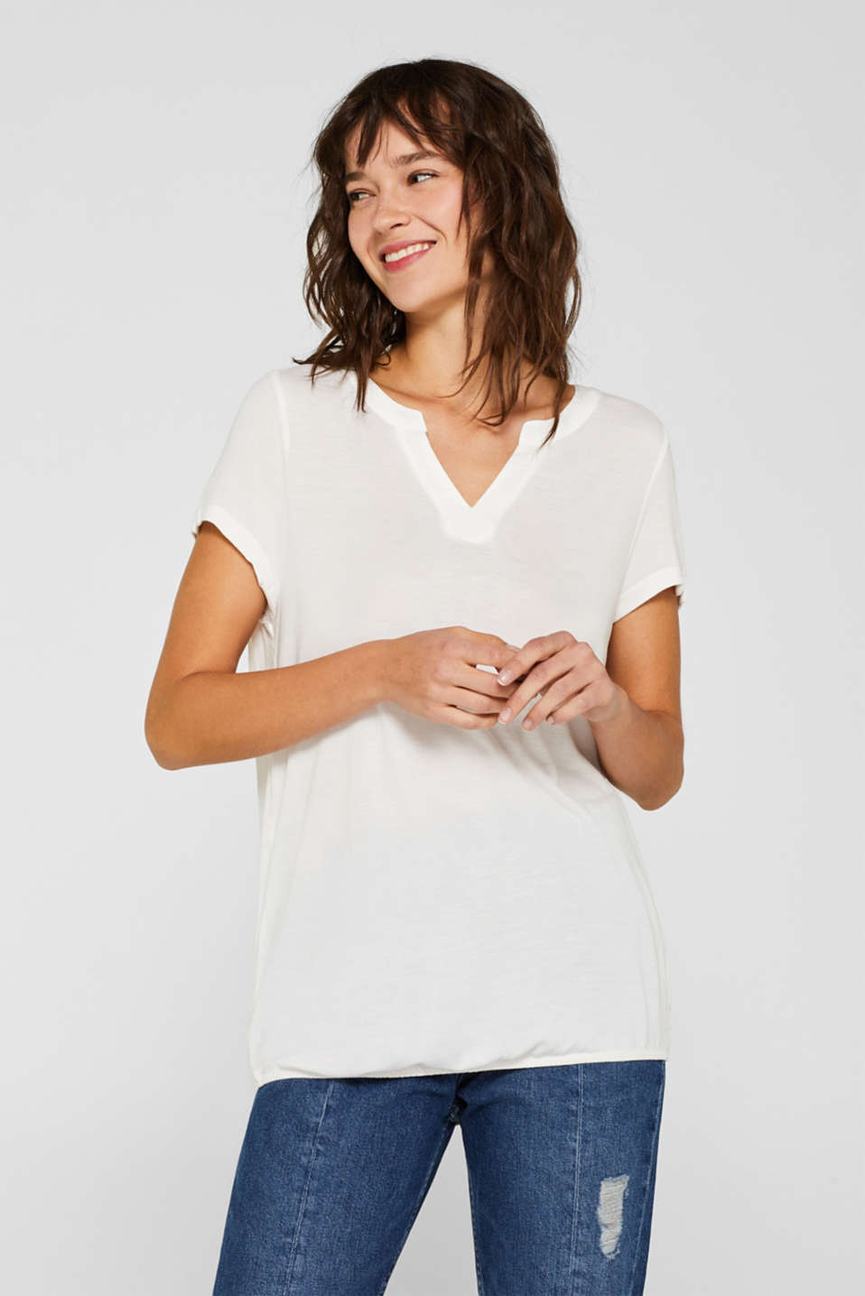 Esprit - Top with fabric details and an elasticated hem