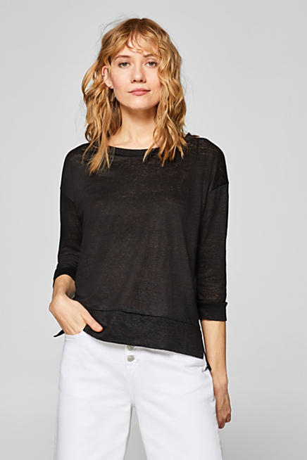 54eeaa482576b0 100% linen  top with three-quarter length sleeves
