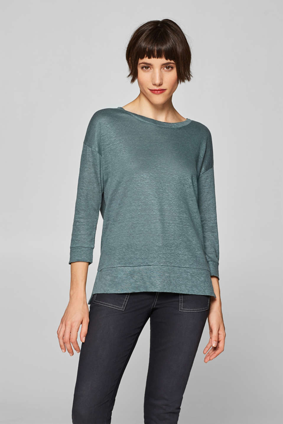 Esprit - 100% linen: top with three-quarter length sleeves