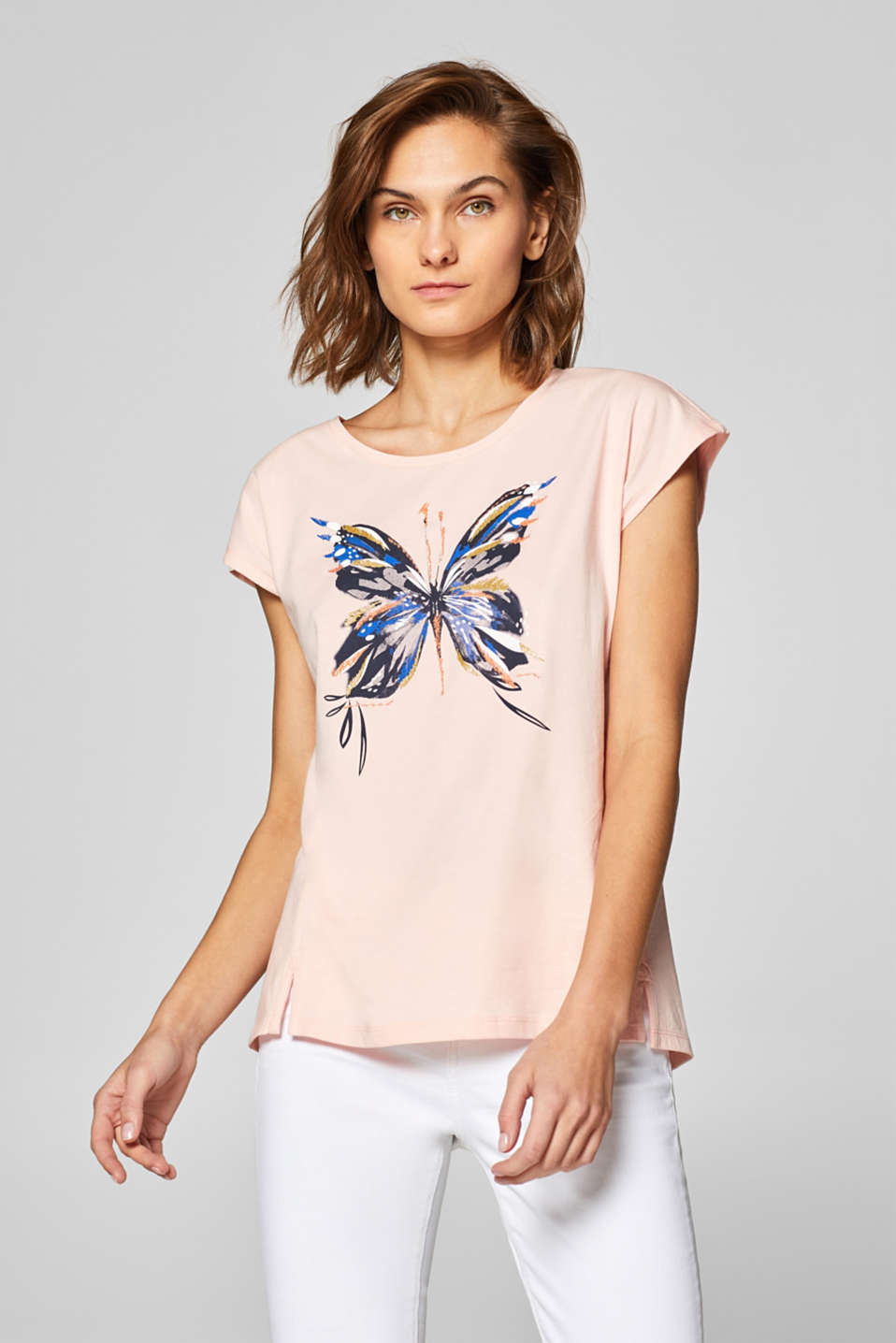 Esprit - Artwork shirt met organic cotton, 100% katoen