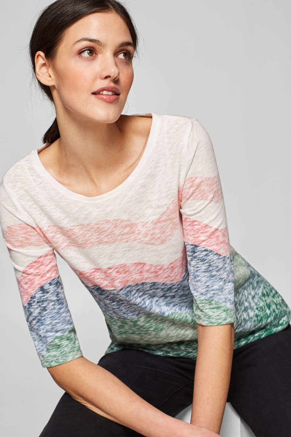 Esprit - Slub-Shirt im Multicolor-Look