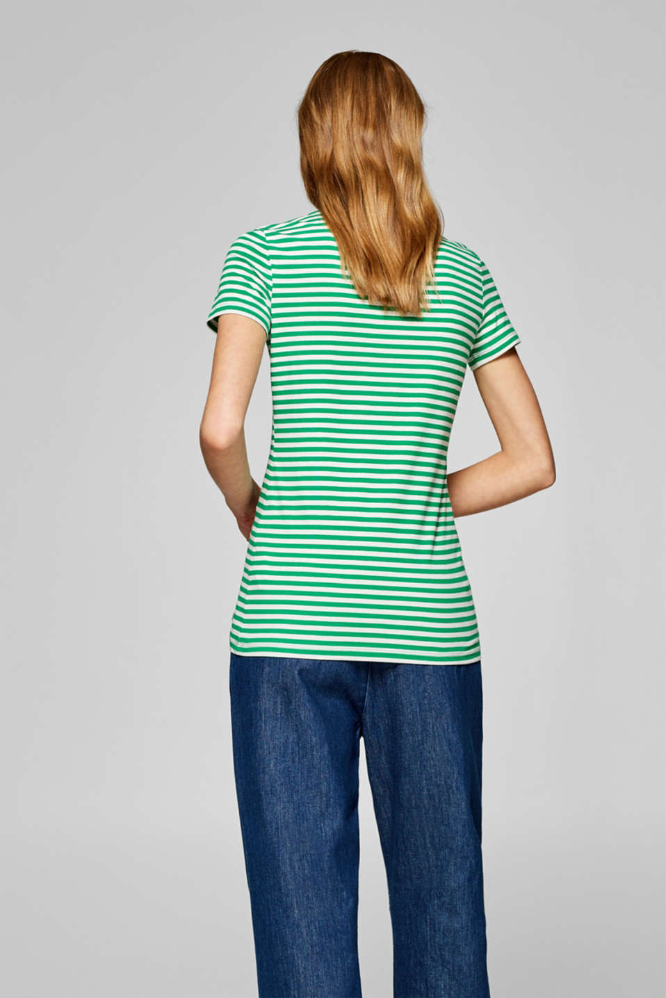 Striped T-shirt with stretch and organic cotton, GREEN 4, detail image number 3