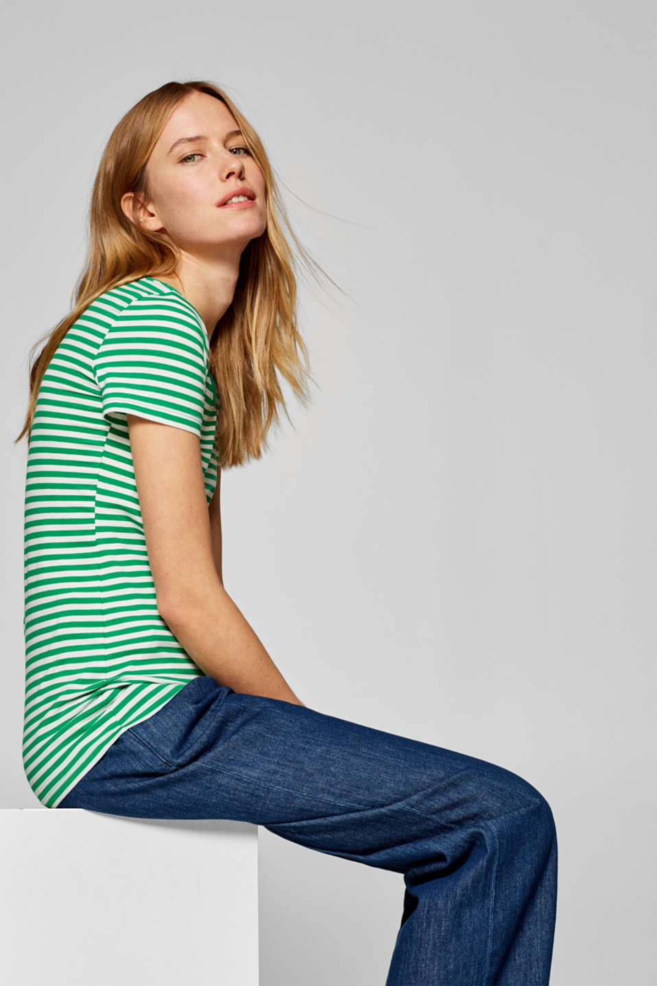 Striped T-shirt with stretch and organic cotton, GREEN 4, detail image number 5