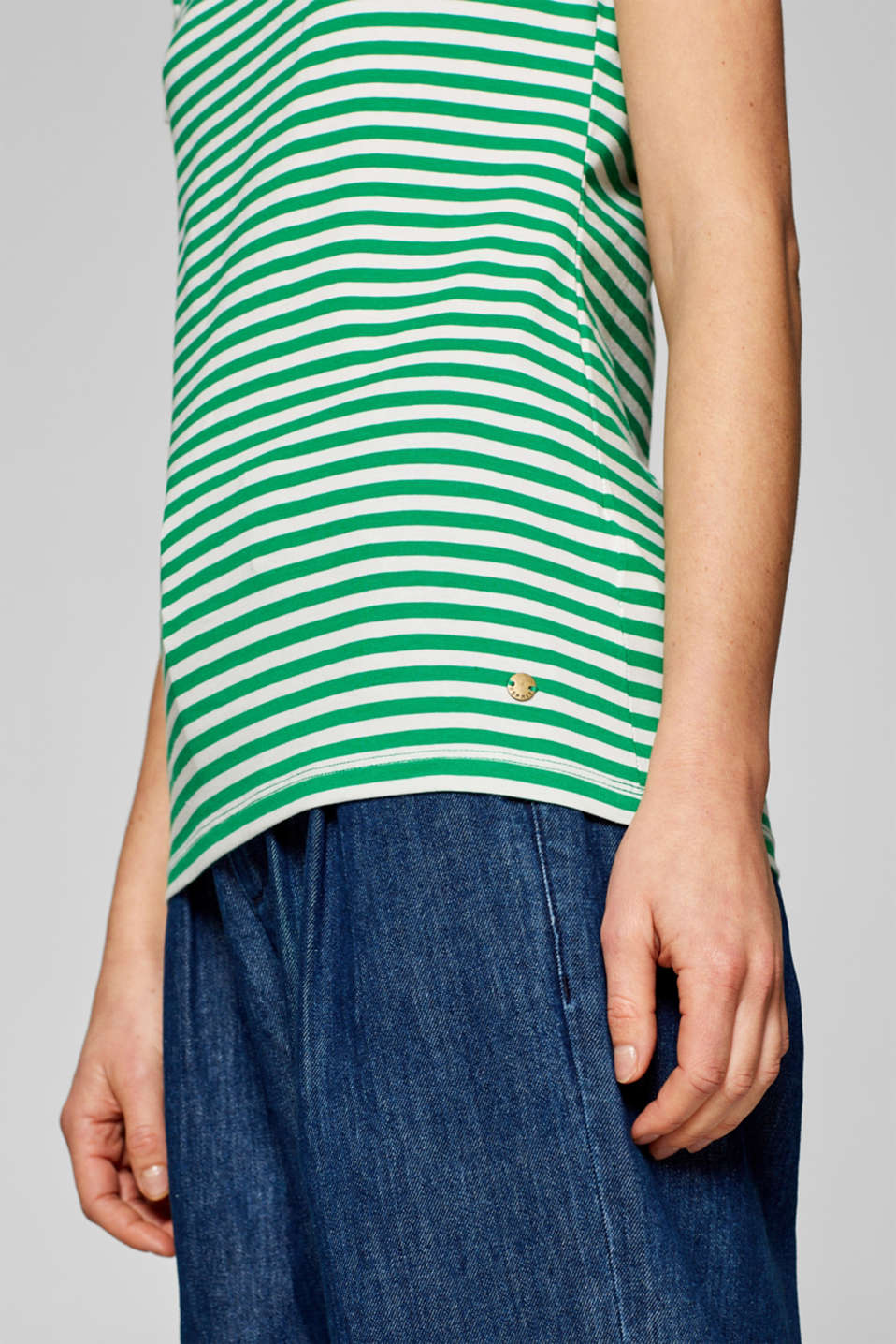 Striped T-shirt with stretch and organic cotton, GREEN 4, detail image number 2