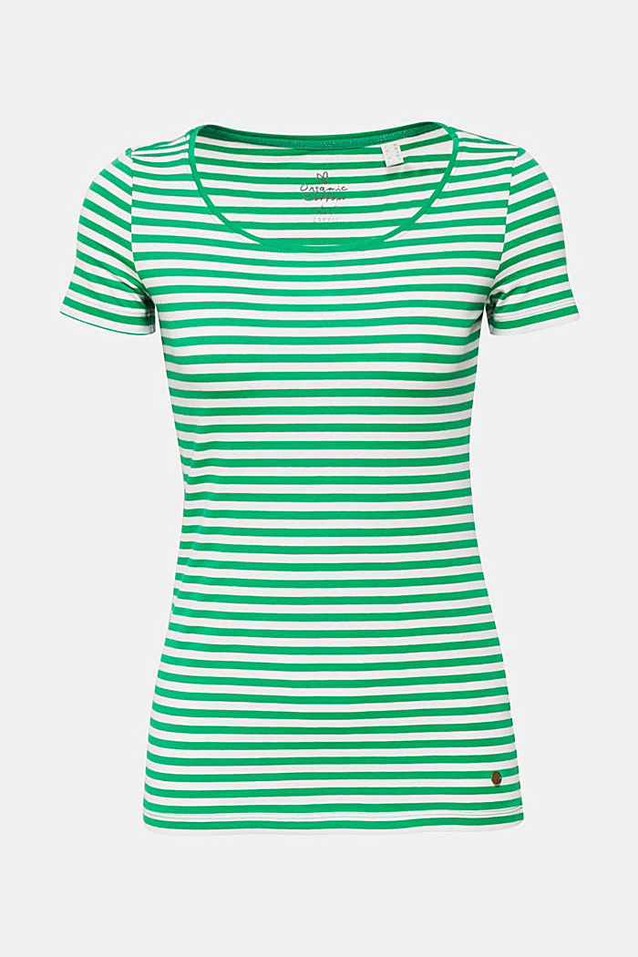 Striped T-shirt with stretch and organic cotton, GREEN, detail image number 0