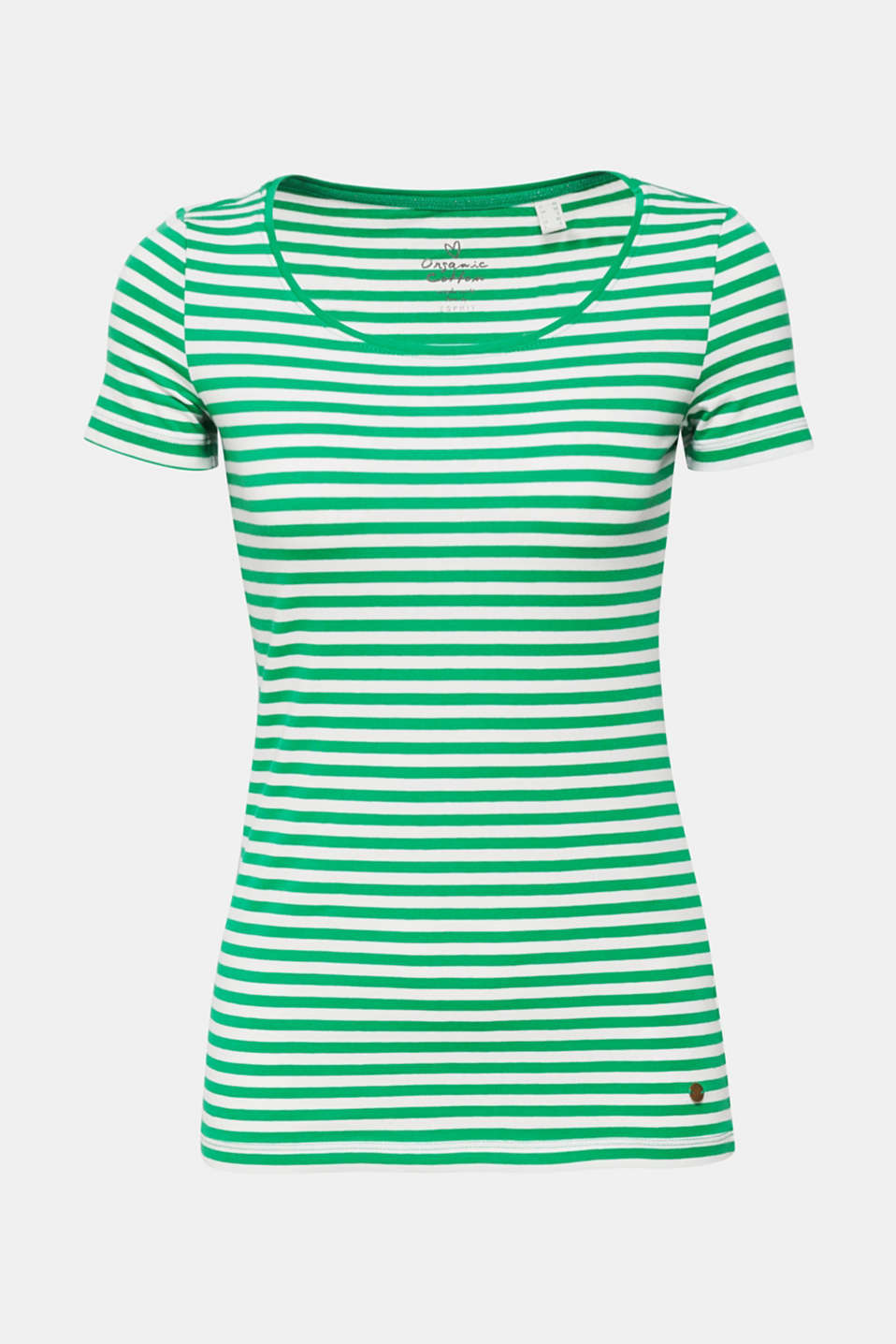 Esprit - Gestreept shirt met stretch en organic cotton