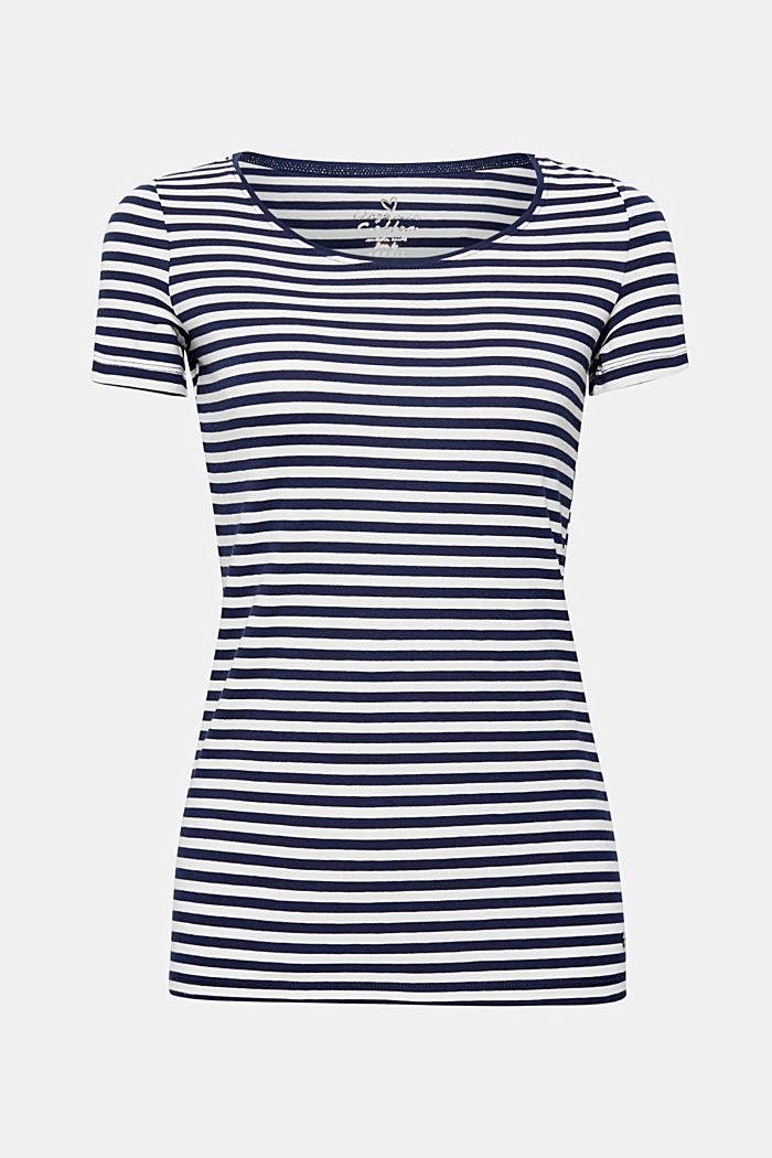 Gestreept shirt met stretch en organic cotton, NAVY, detail image number 0