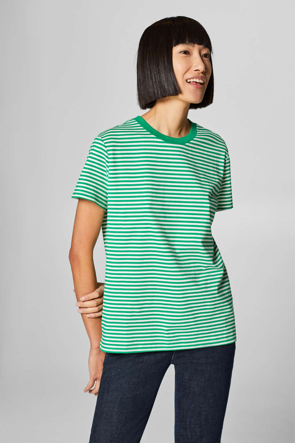 Esprit - Striped T-shirt with a textured trim, 100% cotton