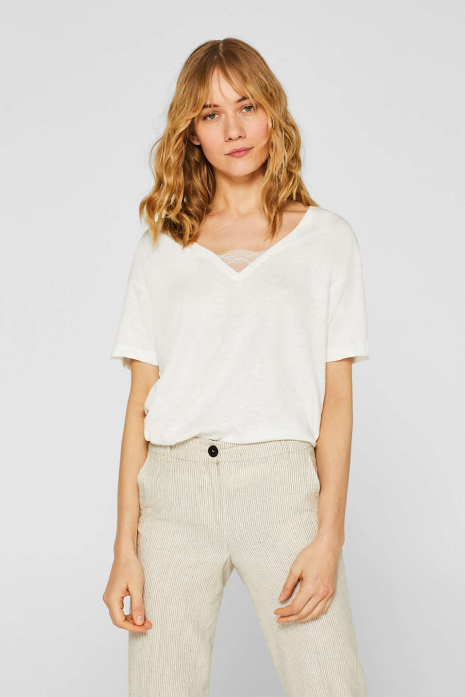 Esprit - Linen blend: Top with lace insert
