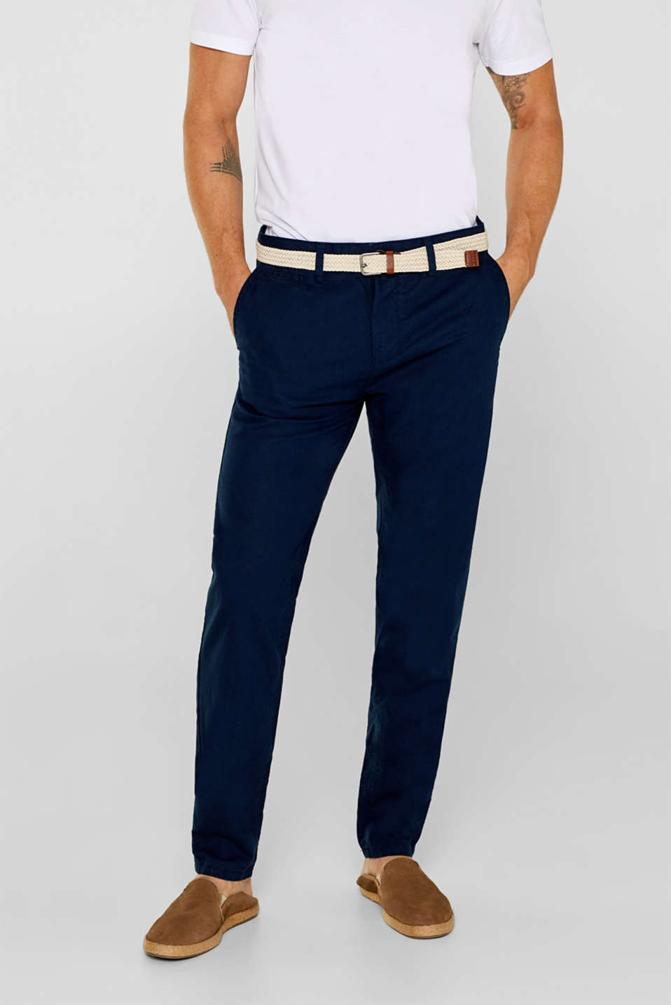 Esprit - Linen blend: trousers with belt