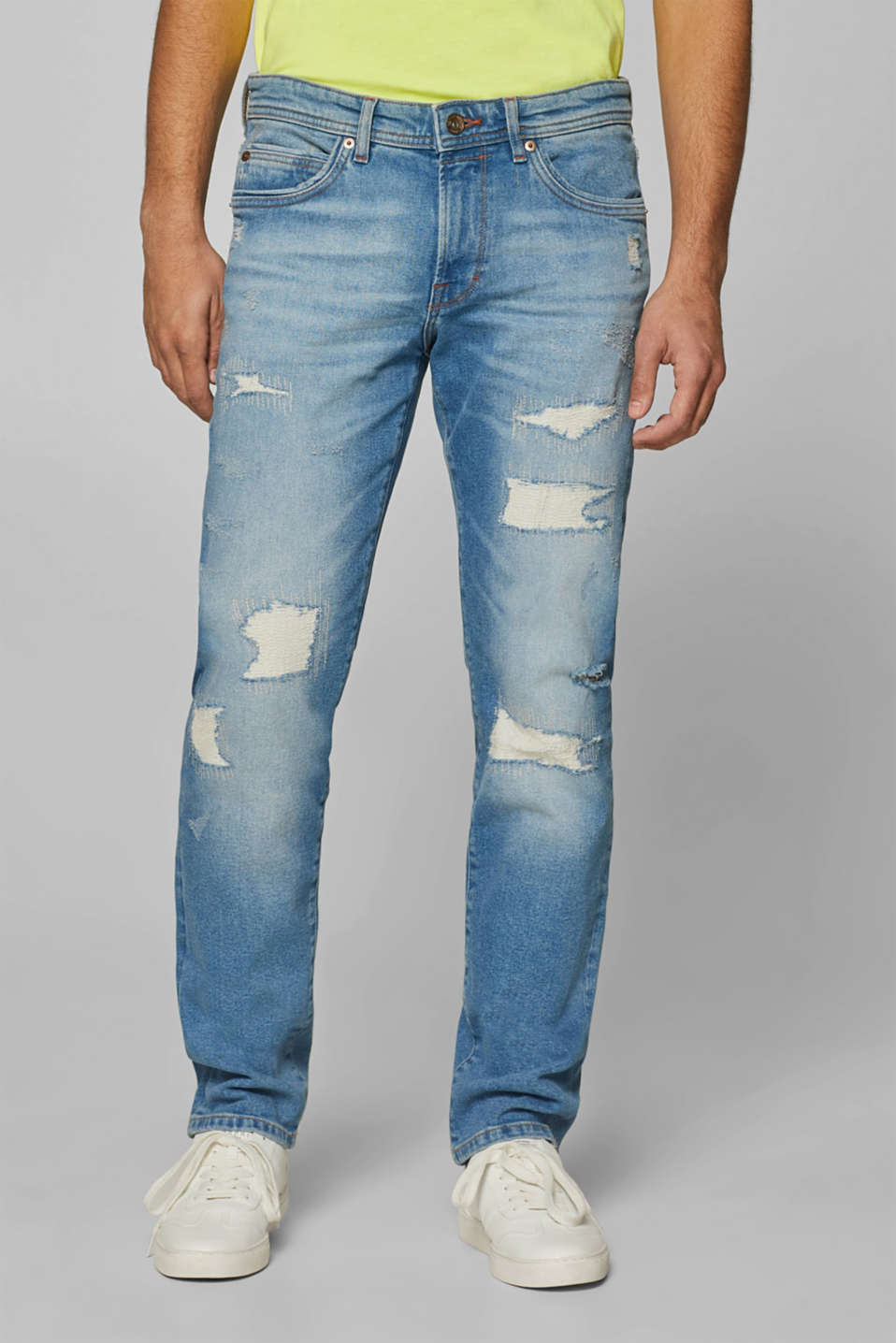 Esprit - Stretchjeans met een destroyed look