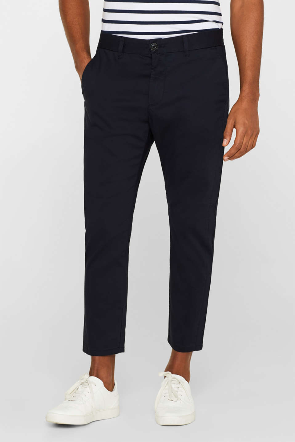 Esprit - Cropped trousers with an elasticated waistband