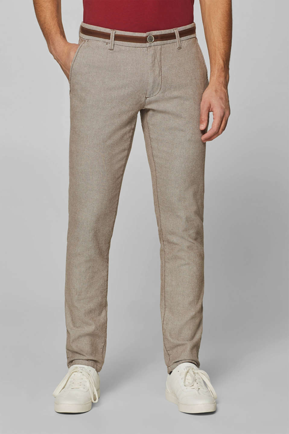 Esprit - Two-tone trousers with accent stripes